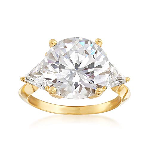 Ross-Simons 7.50 ct. t.w. Round and Trillion-Cut CZ Ring in 18kt Gold Over -