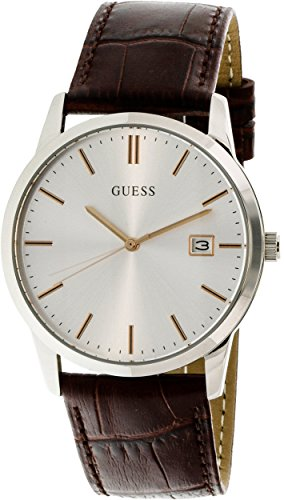Guess-Mens-U0998G2-Silver-Leather-Quartz-Fashion-Watch