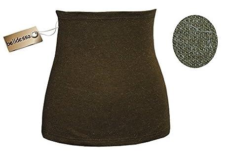 3 in 1 : Angora Wolle - Stretch - Nierenwä rmer / Shirt Verlä ngerer / Bauchwä rmer / Accessoire - Frau XS - oliv grü n uni belldessa