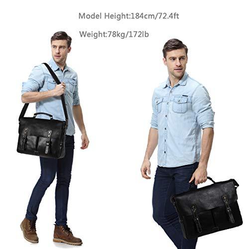 Leather Messenger Bag for Men, VASCHY Handmade Full Cowhide Leather Vintage Satchel 15.6 inch Laptop Business Briefcase Travel Shoulder Bag Black by VASCHY (Image #1)