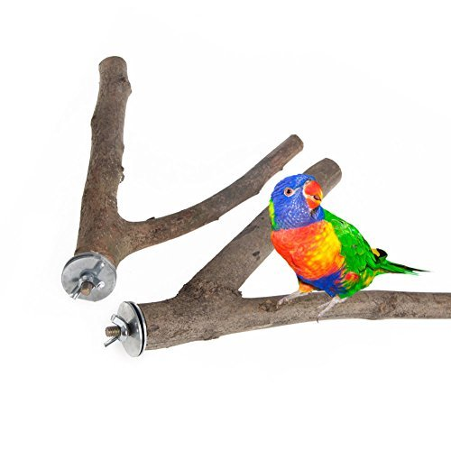 - 1Pc Parrot Raw Wood Fork Stand Rack Toy Hamster Branch Perches For Pet Bird Cage