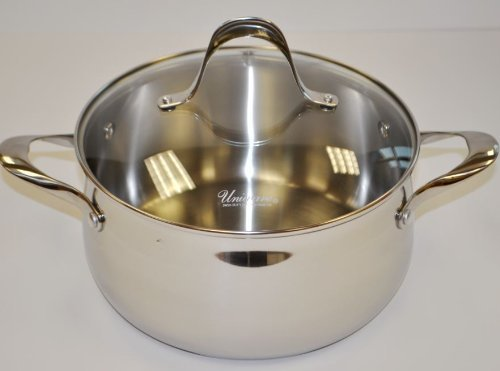 Uniware 2.5 Qt - 4 Qt - 5 Qt 18/8 Stainless Steel Sauce Pot with Glass Lid [3779]