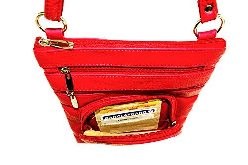 RFID Red Cross Body protected Organizer King Duchess Bag Purse Fqw6XBW