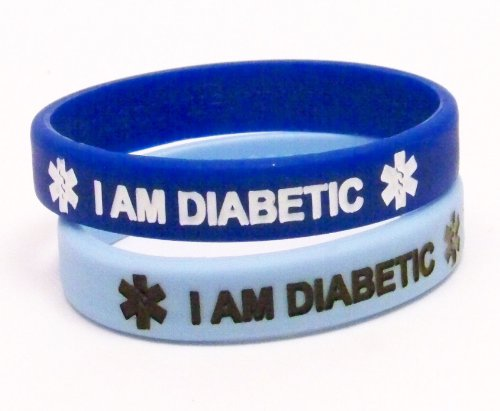 Silicone Diabetic Medical Alert Bracelet 2 Pack, Royal and Light Blue (6.25 Inches)