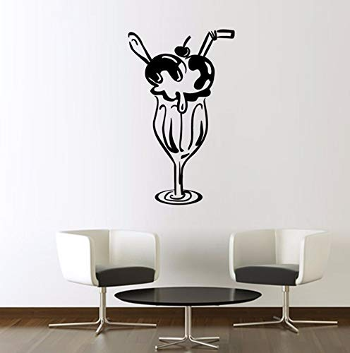 Dalxsh Home Decor Vinyl Art Decal DIY Waterproof Cherry Ice Cream Glass Modern Wall Sticker for Lounge 29x48cm]()