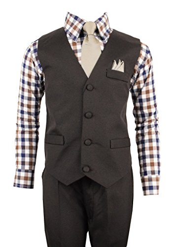 Vittorino Boys 4 Piece Suit Set with Vest Shirt Tie Pants and Hankerchief,Brown,7 - 4 Piece Suit Set