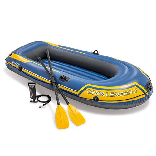 Intex Challenger 2, 2-Person Inflatable Boat Set with French Oars and High Output Air Pump (Latest (2 Person Inflatable Boat)