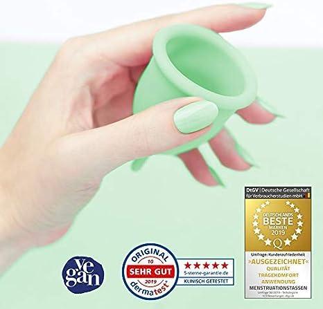 DIVINE CUP copa menstrual tamaño XS, extra pequeña - Clínicamente probada, nota MUY BIEN - 100 % Made in Germany - Verde menta, disponible en cuatro ...