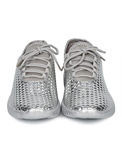 Alrisco Women Studded Jogger Sneaker - Pyramid Stud Exercise Shoe - Trendy Gym Work Out Fashion Sneaker - HD80 by Liliana Collection Silver Metallic LJqms