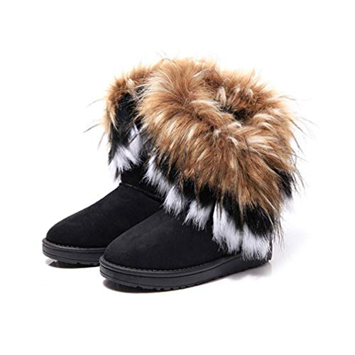 JOYBI Women Winter Fur Lined Snow Boots Flat Comfortable Warm Soft Lady Lightweight Faux Suede Ankle Boots (Womens Suede Sheepskin Wedge)