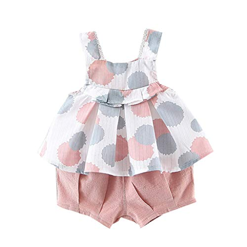 Price comparison product image Summer Casual Set Clothes For Baby / Toddler Girl 3M-18M, Wesracia Sleeveless Floral Cami Tops + Bloomers Shorts(Pink