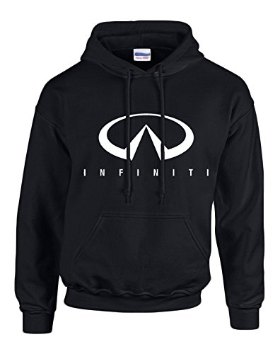 INFINITI White Logo on Black Hooded Sweater / Sweatshirt (Hoodie) - SIZE LARGE