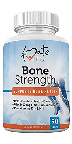 Bone Strength - Calcium Magnesium for Bone Health- Calcium Citrate with Vitamin D3 for Bone Density- Calcium Supplement for Women-High Absorption Calcium 1000mg- 90 Tablets Made USA by Amate Life