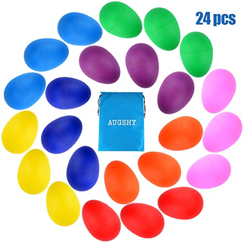 24PCS Plastic Egg Shakers Percussion Musical Egg Maracas Toys Music Learning DIY Painting(8 Colors) ()