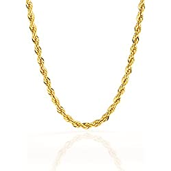 Best Rope Chain 5MM Fashion Jewelry Necklaces Made of Real 24K Gold over Semi-Precious Metals, Thick Layers Help it Resist Tarnishing, 100% FREE LIFETIME REPLACEMENT GUARANTEE, Looks Solid, 30 inches