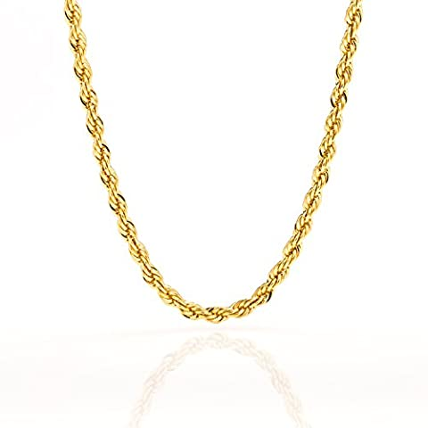 Best Rope Chain 5MM Fashion Jewelry Necklaces Made of Real 24K Gold over Semi-Precious Metals, Thick Layers Help it Resist Tarnishing, 100% FREE LIFETIME REPLACEMENT GUARANTEE, Looks Solid, 30 (24k Gold Necklace Solid)