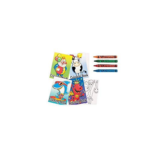 72-Pack of Kids Coloring Books with 12 (4 Pack) of Crayons -Great Party Favor or Traveling idea, Keep Kids Busy with Fun Coloring Activity Pages, Assorted Design