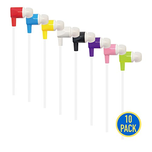 Gadget.Cool 3.5mm Color Earphones Bulk - Pack of 10 Wholesale Earphones, 8 Assorted Colors, Standard Sound Quality, Soft Silicon Ear-tips, Flat Cable (8 Colors/Pack of 10) by Gadget.Cool