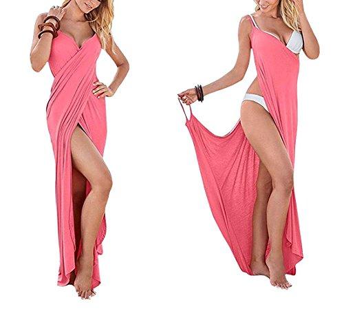 Longue Maxi Plage V Strap pink paules Amincissant t Split sans Minetom Sexy Femmes Neck Bustier Manche Robe Nue Dress Hem de qHIIa