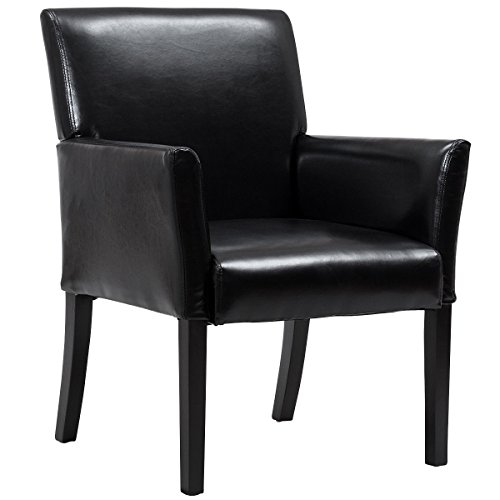 Giantex PU Leather Executive Guest & Reception Chair Waiting Room with Arms, Black - Executive Black Leather Guest Chair