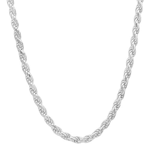 3.2mm Solid 925 Sterling Silver Diamond-Cut Rope Link Italian Chain, (Plated Diamond Cut Rope Chain)