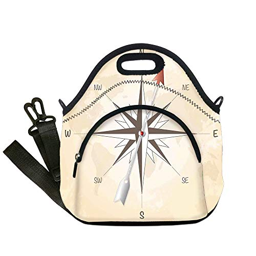 Insulated Lunch Bag,Neoprene Lunch Tote Bags,Compass Decor,Compass Rose with Metal Arrow on Vintage Grungy Background Travel Navigation Art,Beige Red,for Adults and - Box Transformer Lunch Metal