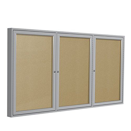 Ghent 36''x72''  3-Door Outdoor Enclosed Vinyl Bulletin Board, Shatter Resistant, with Lock, Satin Aluminum Frame - Caramel (PA33672VX-181), Made in the USA by Ghent