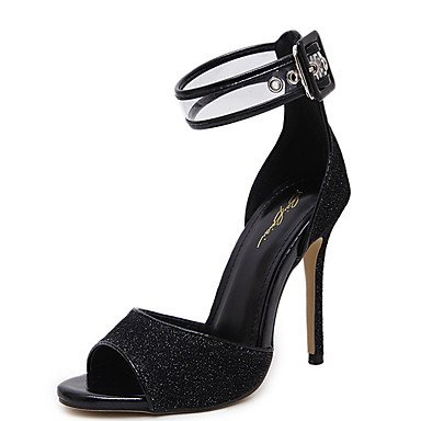 pwne Sandalias De Mujer Zapatos Club Pu Ropa De Verano Sequin Stiletto Talón Oro Negro 4A-4 3/4En Negro Us8 / Ue39 / Uk6 / Cn39 US7.5 / EU38 / UK5.5 / CN38