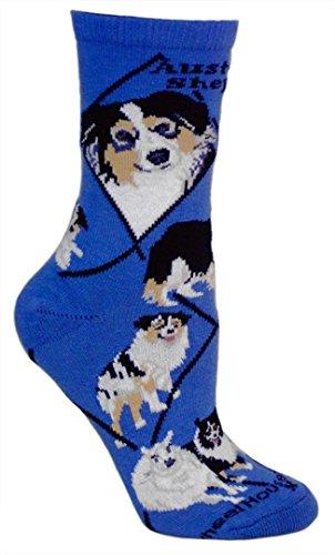 Australian Shepherd Blue Ultra Lightweight Cotton Crew Socks - Made in USA