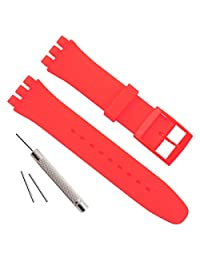 Swatch Replacement 20mm Waterproof Silicone Rubber Watch Strap Watch Band (20mm, Red)