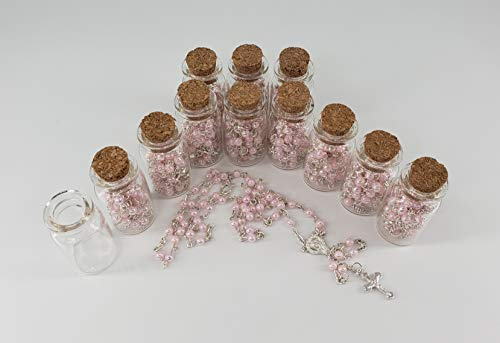 12 Pcs Baptism Pink Crystal Pearl Rosary Bottle Recuerdos de Bautizo First Communion Quinceanera Wedding Shower Favor (Pink Rosary For Party Favor)