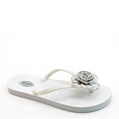 Pantofola Piatta Flip Flop Floreale Bolaro Lady Nuova Di Zecca