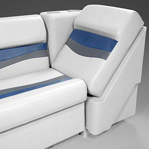 (DeckMate Classic Left Lean Back Pontoon Seats (Gray/Blue/Charcoal))