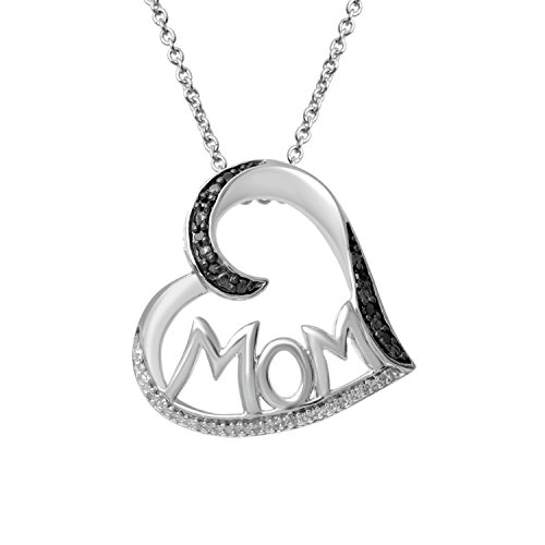 Jewelili Sterling Silver Black and White Diamond MOM Heart Pendant Necklace, 1/10cttw. 18''