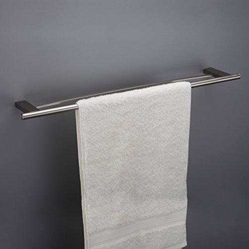 18' Floor Brush (MAYKKE Benidorm 18-Inch Double Towel Bar for Bathroom or Kitchen, Brushed Nickel OYA1022802)