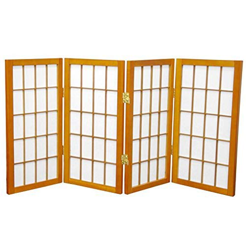 оRIеNTаL FURNITURе Home Decor 2 ft. Tall Desktop Window Pane Shoji Screen - Honey - 4 Panels (2 Ft Tall Desktop Window Pane Shoji Screen)