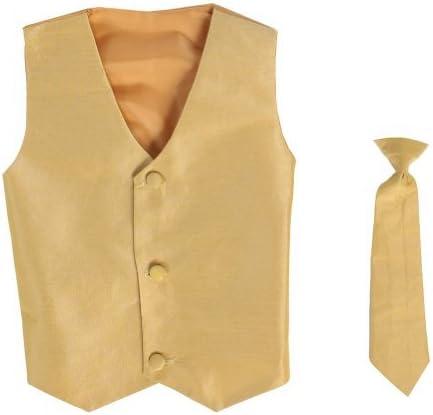 Chaleco y Clip On Boy Corbata conjunto – GOLD – 4/5 Color: Oro ...