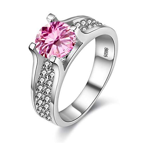 - Uloveido Round Pink CZ ZirconPlatinumEngagement Wedding Band Ring for Women Fashion Jewelry (Size 6) Y006-PINK