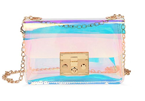 - Mini Hologram Clear Cross Body Purse Shoulder Bag Handbag for Women (Style A)