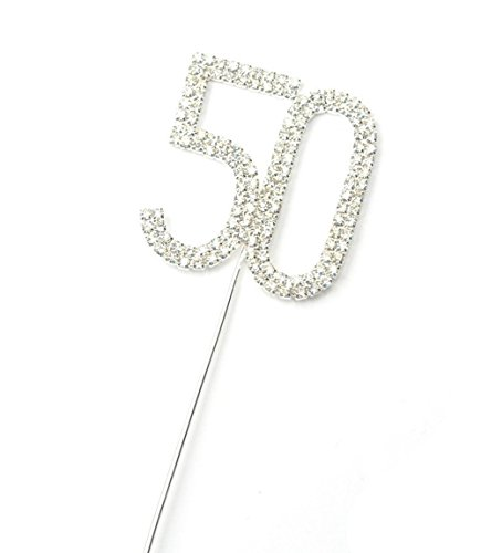 yueton Rhinestone Crystal Number 50 Birthday Wedding 50th Anniversary Cake Topper Cake Decor Accessories