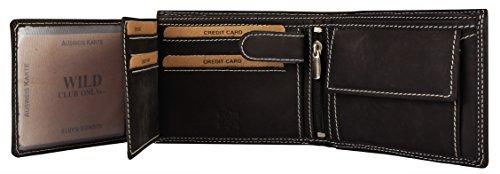 Leder Geldbörse für Herren Männer Geldtasche schwarze Geldbörse Geldbeutel für Männer Leder Natur Optik Portemonnaie Brieftasche