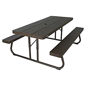 Brown Plastic and Steel 6-Foot Picnic Table