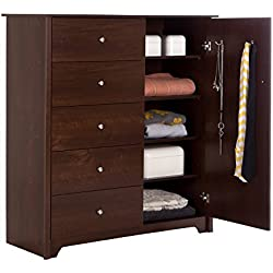 South Shore Vito Door Chest with 5 Drawers and Adjustable Shelves, Sumptuous Cherry