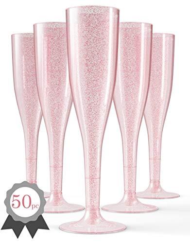 (50 Rose Gold Plastic Champagne Flutes | Glitter Elegant Plastic Toasting Glasses | Luxurious Plastic Wedding Champagne Flutes | Plastic Champagne Flutes Bulk | Plastic Prosecco)