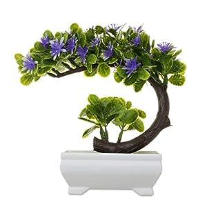 Decorations Hakumo Artificial China Aster Bonsai Fake Blossom Flower Potted Plant Home Decor Blue 36