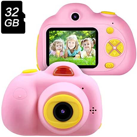 Gifts for 3 4 5 6 Year Old Girls,OMWay Kids Camera for Girls, Outdoor Toys for 5 6 7 8 Year Old Toddlers Children,8MP HD Video Camera, Pink(32GB SD Card Included).