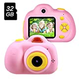 OMWay Best Gift for 3-8 Year Old Kids, Kids Camera for Girls, Outdoor Toys for 4-7 Year Old Girls Boys Children,8MP HD Video Camera, Pink(32GB SD Card Included).