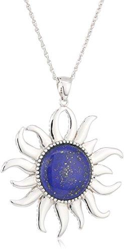 Lapis Pendant (Sterling Silver Lapis Sunburst Pendant Necklace, 18