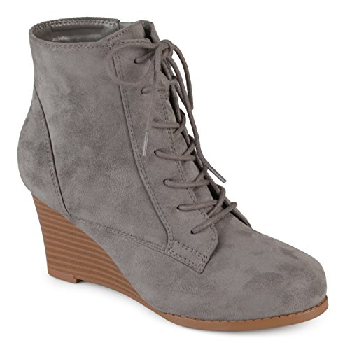 Journee Collection Womens Lace-up Stacked Wedge Booties Grey