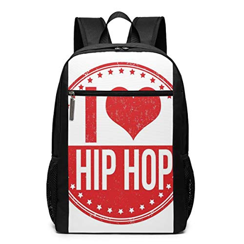 17 Inch School Laptop Backpack,I Love Hip Hop Phrase On A Circular Grungy Background with Star Shapes,Casual Daypack for Business/College/Women/Men